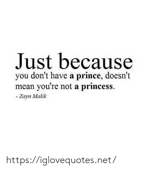 Prince, Zayn Malik, and Mean: Just because  you don't have a prince, doesn't  mean you're not a princess.  - Zayn Malik https://iglovequotes.net/