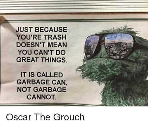 Trash, Mean, and Oscar: JUST BECAUSE  YOU'RE TRASH  DOESN'T MEAN  YOU CAN'T DO  GREAT THINGS.  IT IS CALLED  GARBAGE CAN,  NOT GARBAGE  CANNOT Oscar The Grouch