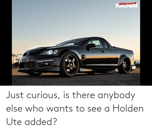 anybody: Just curious, is there anybody else who wants to see a Holden Ute added?