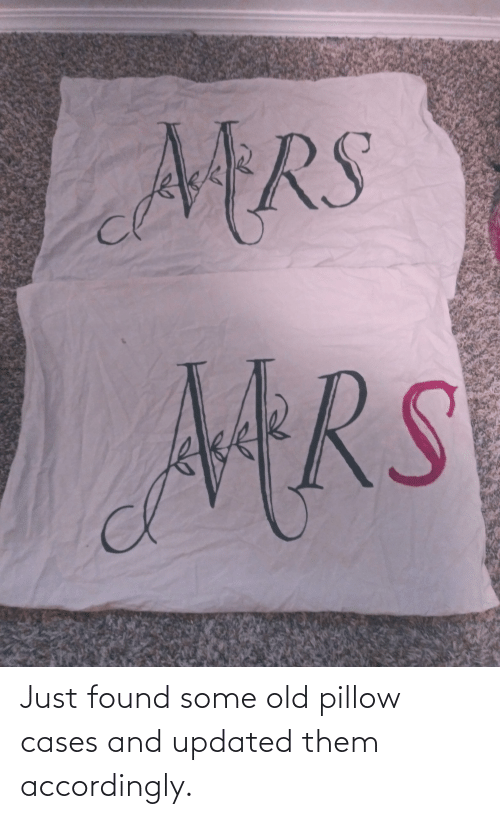 accordingly: Just found some old pillow cases and updated them accordingly.