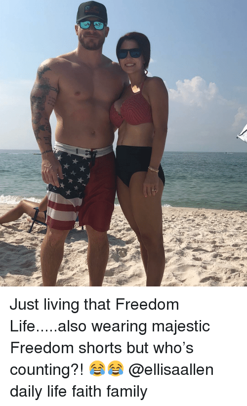 Family, Life, and Memes: Just living that Freedom Life.....also wearing majestic Freedom shorts but who's counting?! 😂😂 @ellisaallen daily life faith family