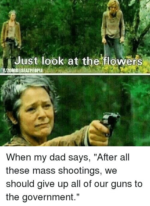 """Dad, Guns, and Flowers: Just look at the flowers  BHIZOMBIESEATPEOPLE When my dad says, """"After all these mass shootings, we should give up all of our guns to the government."""""""