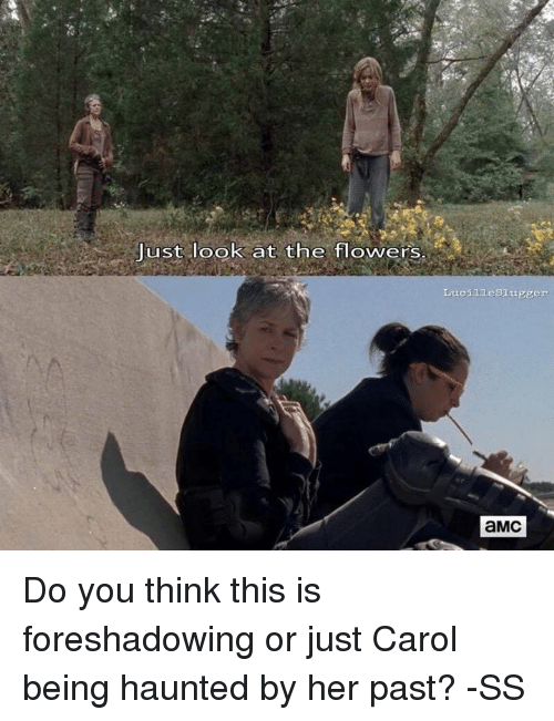 just look at the flowers: Just look at the flowers  Lucilieslugger  aMc Do you think this is foreshadowing or just Carol being haunted by her past?  -SS