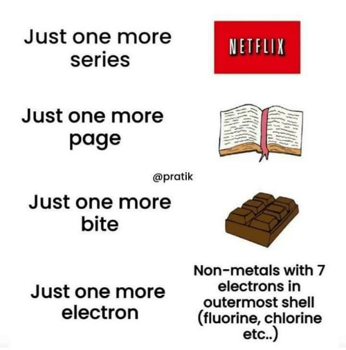 Netflix, Page, and Shell: Just one more  NETFLIX  series  Just one more  page  @pratik  Just one more  bite  Non-metals with 7  electrons in  Just one more  outermost shell  (fluorine, chlorine  etc..)  electron