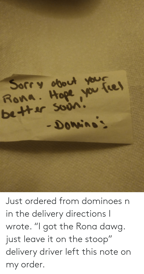 "i got: Just ordered from dominoes n in the delivery directions I wrote. ""I got the Rona dawg. just leave it on the stoop"" delivery driver left this note on my order."
