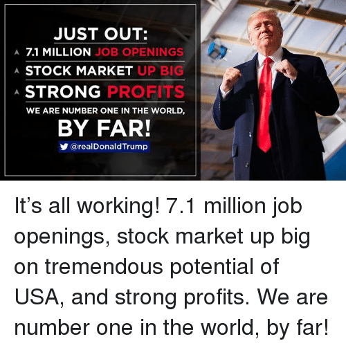 Stock Market, Trump, and World: JUST OUT:  A 7.1 MILLION JOB OPENINGS  A STOCK MARKET UFP  A.  STRONG  PROFITS  WE ARE NUMBER ONE IN THE WORLD,  BY FAR!  @realDonald Trump It's all working! 7.1 million job openings, stock market up big on tremendous potential of USA, and strong profits. We are number one in the world, by far!