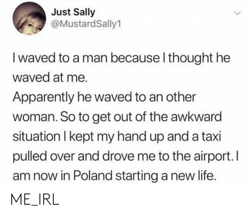 Apparently, Life, and Awkward: Just Sally  @MustardSally1  I waved to a man because l thought he  waved at me.  Apparently he waved to an other  woman. So to get out of the awkward  situation I kept my hand up and a taxi  pulled over and drove me to the airport. I  am now in Poland starting a new life. ME_IRL