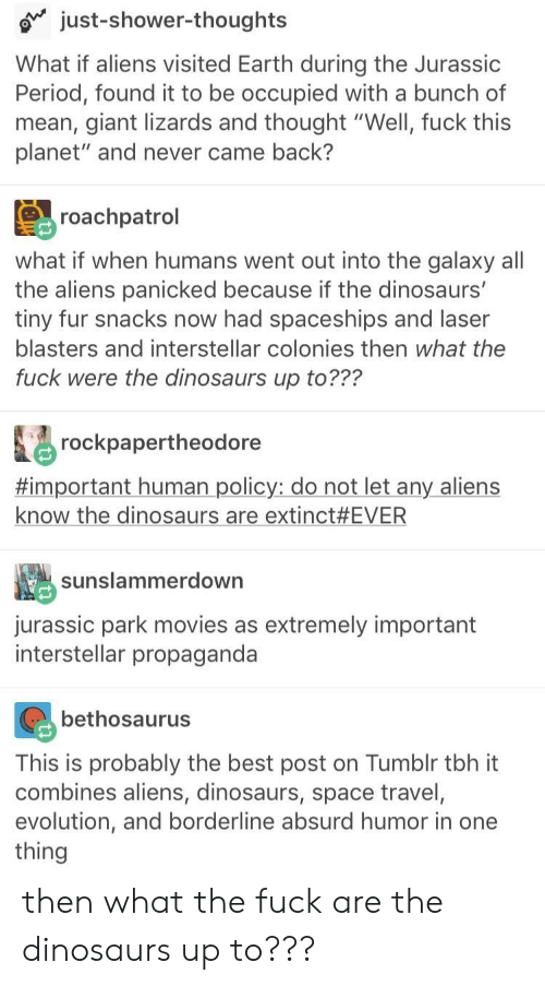 "Aliens: just-shower-thoughts  What if aliens visited Earth during the Jurassic  Period, found it to be occupied with a bunch of  mean, giant lizards and thought ""Well, fuck this  planet"" and never came back?  roachpatrol  what if when humans went out into the galaxy all  the aliens panicked because if the dinosaurs'  tiny fur snacks now had spaceships and laser  blasters and interstellar colonies then what the  fuck were the dinosaurs up to???  rockpapertheodore  #important human policy: do not let any aliens  know the dinosaurs are extinct #EVER  sunslammerdown  jurassic park movies as extremely important  interstellar propaganda  bethosaurus  This is probably the best post on Tumblr tbh it  combines aliens, dinosaurs, space travel,  evolution, and borderline absurd humor in one  thing then what the fuck are the dinosaurs up to???"