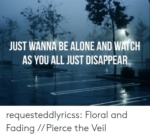 Pierce: JUST WANNA BE ALONE AND WATCH  AS YOU ALL JUST DISAPPEAR requesteddlyricss:  Floral and Fading // Pierce the Veil
