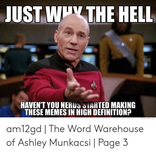 Define Meme: JUST WIY THE HELL  HAVEN'T YOU NERDS STARTED MAKING  THESE MEMES IN HIGH DEFINITION?  WeKnowMemes am12gd | The Word Warehouse of Ashley Munkacsi | Page 3