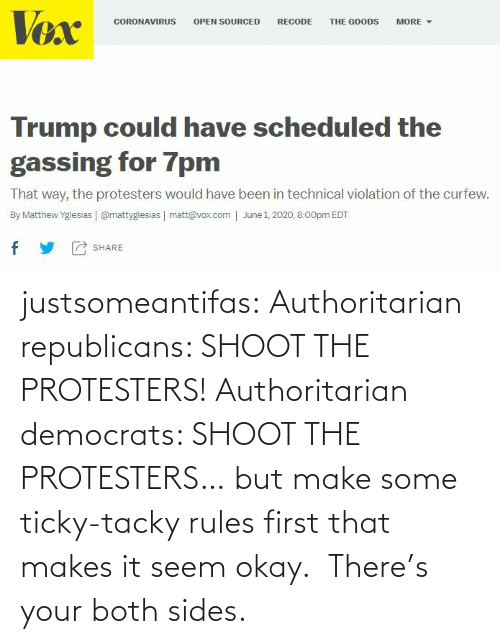 tumblr blog: justsomeantifas: Authoritarian republicans: SHOOT THE PROTESTERS!