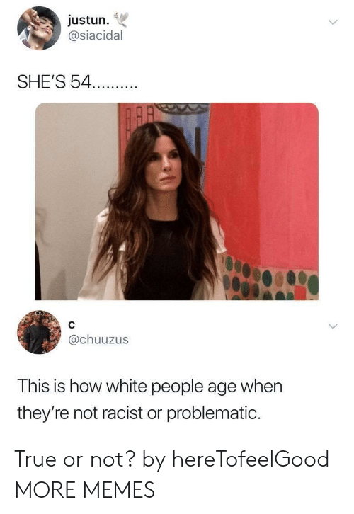 Problematic: justun.  @siacidal  SHE'S 54.  @chuuzus  This is how white people age when  they're not racist or problematic. True or not? by hereTofeelGood MORE MEMES