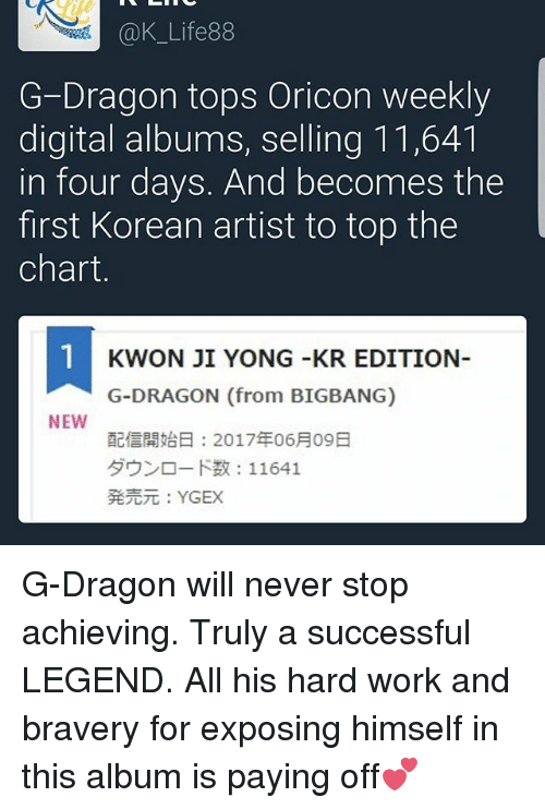 Life 88 G-Dragon Tops Oricon Weekly Digital Albums Selling