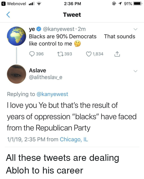 "Republican Party: K Webnovel .all T  2:36 PM  Tweet  ye@kanyewest 2m  Blacks are 90% Democrats That sounds  like control to me  396 1393 1834  Aslave  @alitheslav e  Replying to @kanyewest  I love you Ye but that's the result of  years of oppression ""blacks"" have faced  from the Republican Party  1/1/19, 2:35 PM from Chicago, IL All these tweets are dealing Abloh to his career"