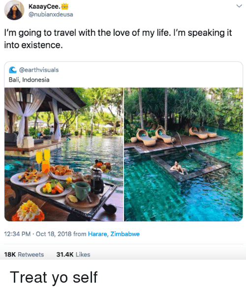 Treat Yo Self: KaaayCee.  @nubianxdeusa  I'm going to travel with the love of my life. I'm speaking it  into existence  с @earthvisuals  Bali, Indonesia  2:34 PM-Oct 18, 2018 from Harare, Zimbabwe  18K Retweets  31.4K Likes Treat yo self