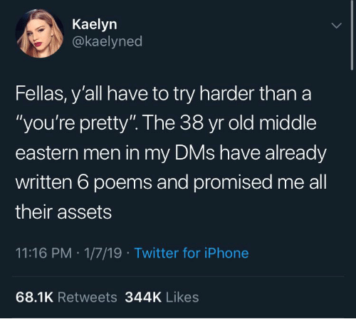 "Try Harder: Kaelyn  @kaelyned  Fellas, y'all have to try harder than a  ""you're pretty"". The 38 yr old middle  eastern men in my DMs have already  written 6 poems and promised me all  their assets  11:16 PM 1/7/19 Twitter for iPhone  68.1K Retweets 344K Likes"