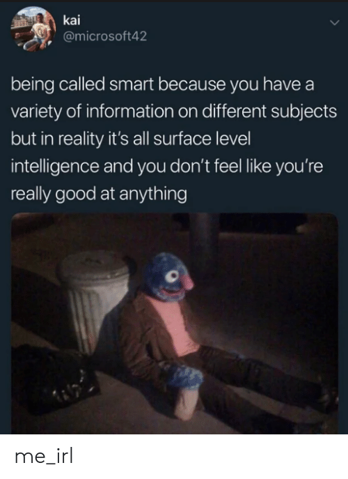 kai: kai  @microsoft42  being called smart because you have a  variety of information on different subjects  but in reality it's all surface level  intelligence and you don't feel like you're  really good at anything me_irl