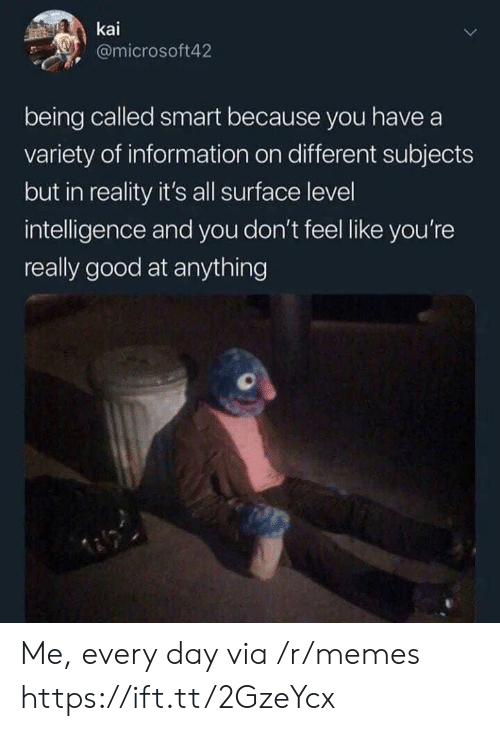 kai: kai  @microsoft42  being called smart because you have a  variety of information on different subjects  but in reality it's all surface level  intelligence and you don't feel like you're  really good at anything Me, every day via /r/memes https://ift.tt/2GzeYcx