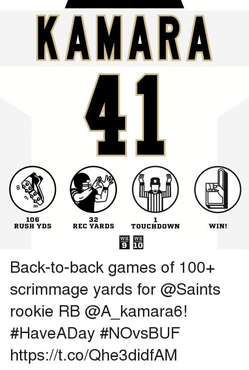 Anaconda, Back to Back, and Memes: KAMARA  32  106  RUSH YDS  1  REC YARDSTOUCHDOWN  WIN!  WK WK  9 10 Back-to-back games of 100+ scrimmage yards for @Saints rookie RB @A_kamara6! #HaveADay #NOvsBUF https://t.co/Qhe3didfAM