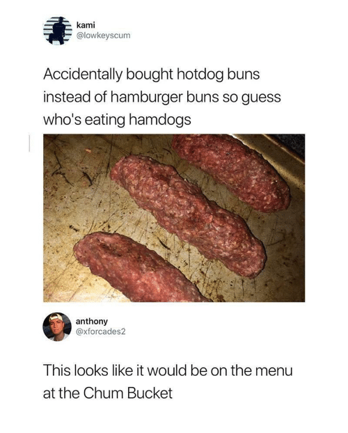 kami: kami  @lowkeyscum  Accidentally bought hotdog buns  instead of hamburger buns so guess  who's eating hamdogs  anthony  @xforcades2  This looks like it would be on the menu  at the Chum Bucket
