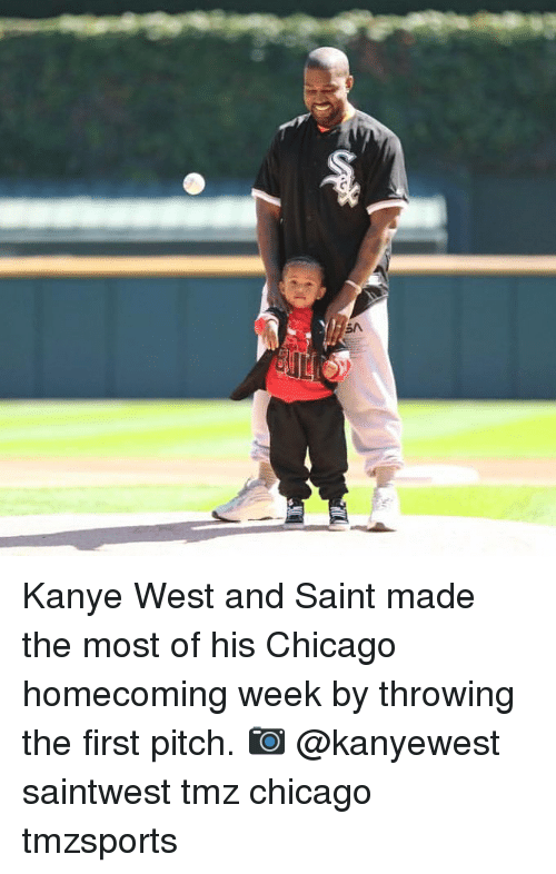 Chicago, Kanye, and Memes: Kanye West and Saint made the most of his Chicago homecoming week by throwing the first pitch. 📷 @kanyewest saintwest tmz chicago tmzsports