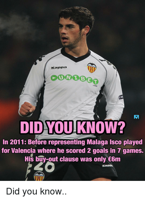 Goals, Memes, and Games: Kappa  Com  RE  DID YOUKNOW?  AM  In 2011: Before representing Malaga Isco played  for Valencia where he scored 2 goals in 7 games.  His buy-out clause was only 6nm  Kappa Did you know..