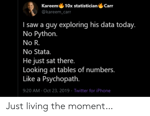 Iphone, Saw, and Twitter: Kareem 10x statistician  Carr  @kareem_carr  I saw a guy exploring his data today.  No Python.  No R.  No Stata.  He just sat there.  Looking at tables of numbers.  Like a Psychopath.  9:20 AM Oct 23, 2019 Twitter for iPhone Just living the moment…