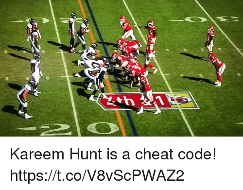 Football, Nfl, and Sports: Kareem Hunt is a cheat code! https://t.co/V8vScPWAZ2