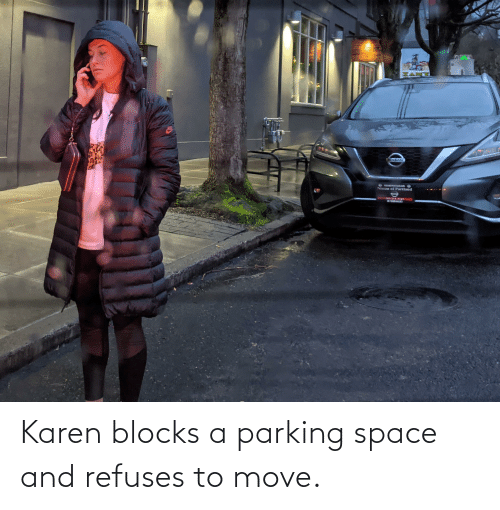 move: Karen blocks a parking space and refuses to move.