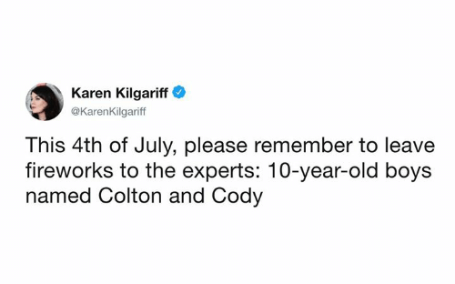 Dank, 4th of July, and Fireworks: Karen Kilgariff  @KarenKilgariff  This 4th of July, please remember to leave  fireworks to the experts: 10-year-old boys  named Colton and Cody