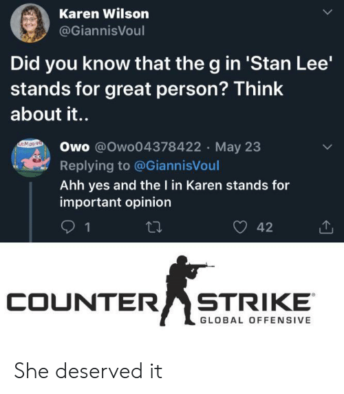 Wilson: Karen Wilson  @GiannisVoul  Did you know that the g in 'Stan Lee'  stands for great person? Think  about it..  EMOn9a  Owo @Owo04378422 May 23  Replying to @GiannisVoul  Ahh yes and the I in Karen stands for  important opinion  42  1  COUNTER  STRIKE  GLOBAL OFFENSIVE She deserved it