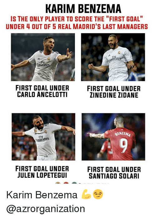 "Memes, Zinedine Zidane, and Goal: KARIM BENZEMA  IS THE ONLY PLAYER TO SCORE THE ""FIRST GOAL""  UNDER 4 OUT OF 5 REAL MADRID'S LAST MANAGERS  mira  Emirat  FIRST GOAL UNDER  CARLO ANCELOTTI  FIRST GOAL UNDER  ZINEDINE ZIDANE  BENZEMA  Fiy  mirates  FIRST GOAL UNDER  JULEN LOPETEGUI  FIRST GOAL UNDER  SANTIAGO SOLARI Karim Benzema 💪😏 @azrorganization"