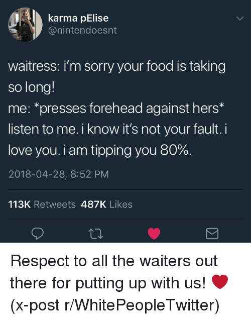 Its Not Your Fault: karma pElise  @nintendoesnt  waitress: i'm sorry your food is taking  so long!  me: *presses forehead against hers*  listen to me. i know it's not your fault. i  love you. i am tipping you 80%.  2018-04-28, 8:52 PM  113K Retweets 487K Likes <p>Respect to all the waiters out there for putting up with us! ❤️ (x-post r/WhitePeopleTwitter)</p>