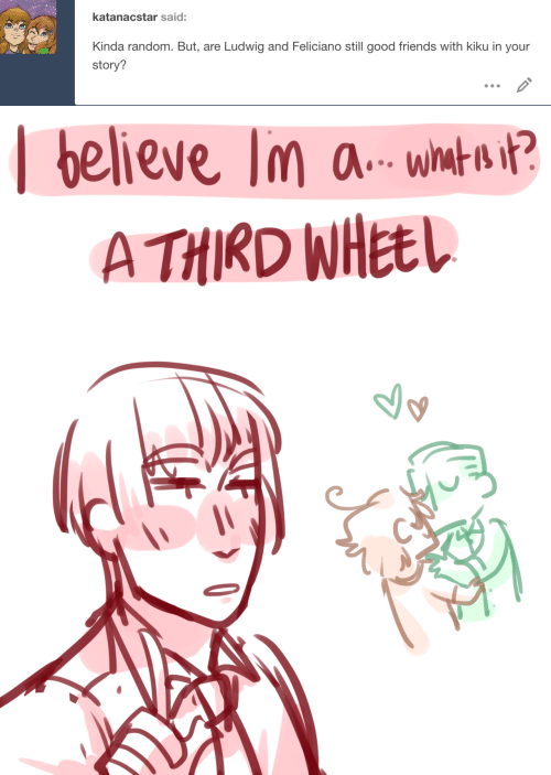 Friends, Good, and Random: katanacstar said:  Kinda random. But, are  Ludwig and Feliciano still good friends with kiku in your  story?   believe lm a- whmtn t?  A THIRD WHEEL