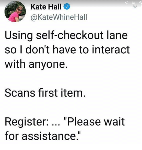 "please wait: Kate Hall  @KateWhineHall  Using self-checkout lane  so I don't have to interact  with anyone.  Scans first item  Register: ""Please wait  for assistance."""