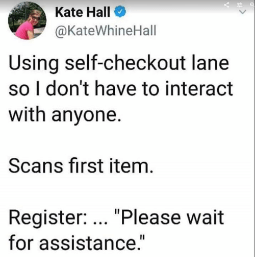 "please wait: Kate Hall  @KateWhineHall  Using self-checkout lane  so I don't have to interact  with anyone.  Scans first item  Register: ""Please wait  for assistance.""  Il"