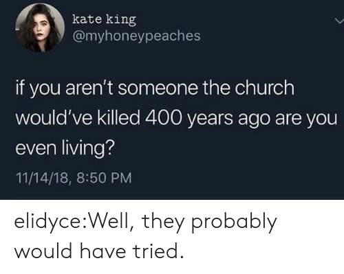 Church, Target, and Tumblr: kate king  @myhoneypeaches  if you aren't someone the church  would've killed 400 years ago are you  even living?  11/14/18, 8:50 PM elidyce:Well, they probably would have tried.