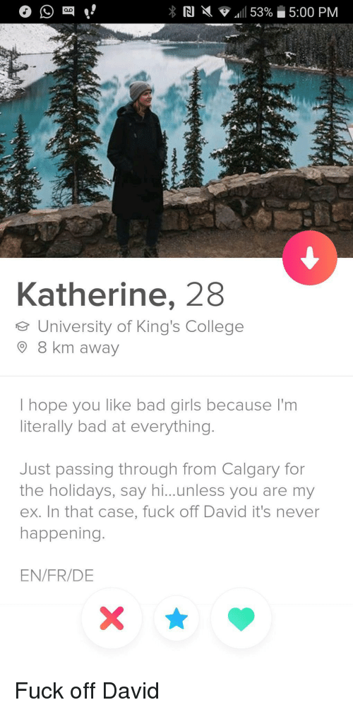 bad girls: Katherine, 28  e University of King's College  8 km away  I hope you like bad girls because I'm  literally bad at everything.  Just passing through from Calgary for  the holidays, say hi...unless you are my  ex. In that case, fuck off David it's never  happening.  EN/FR/DE Fuck off David