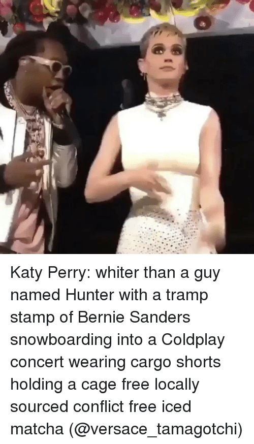 Bernie Sanders: Katy Perry: whiter than a guy named Hunter with a tramp stamp of Bernie Sanders snowboarding into a Coldplay concert wearing cargo shorts holding a cage free locally sourced conflict free iced matcha (@versace_tamagotchi)