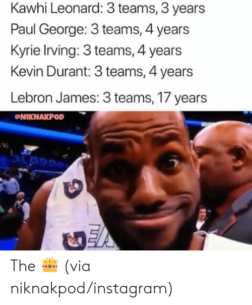 kyrie: Kawhi Leonard: 3 teams, 3 years  Paul George: 3 teams, 4 years  Kyrie Irving: 3 teams, 4 years  Kevin Durant: 3 teams, 4 years  Lebron James: 3 teams, 17 years  NIKNAKPOD The 👑 (via niknakpod/instagram)