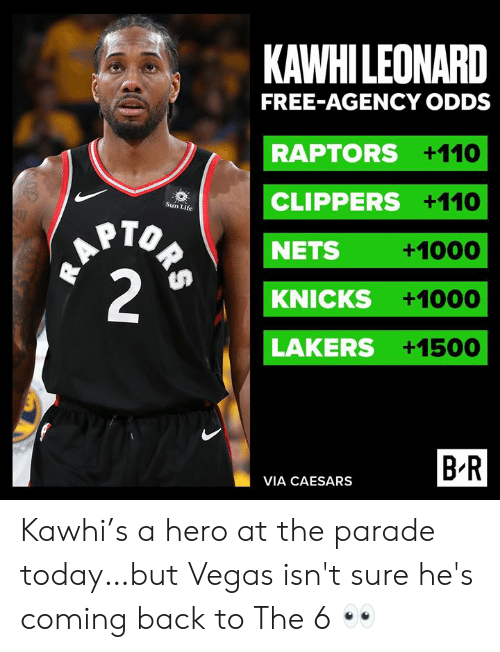 Nets: KAWHILEONARD  FREE-AGENCY ODDS  RAPTORS +110  CLIPPERS +110  Sun Life  HAPTO  2  NETS  +1000  KNICKS  +1000  LAKERS +1500  B R  VIA CAESARS  ORS Kawhi's a hero at the parade today…but Vegas isn't sure he's coming back to The 6 👀