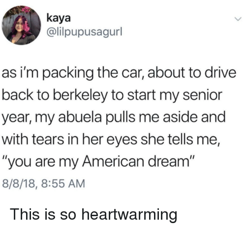 "kaya: kaya  @lilpupusagurl  as i'm packing the car, about to drive  back to berkeley to start my senior  year, my abuela pulls me aside and  with tears in her eyes she tells me,  ""you are my American dream  8/8/18, 8:55 AM This is so heartwarming"