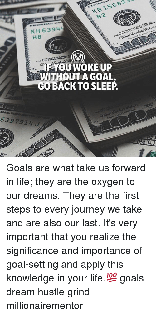 Goals, Journey, and Life: KB 156833  B2  KH 63 94  H 8  MRLIONAIRE MENTOR  YOUWOKE UP  WITHOUT A GOAL,  GOBACK TO SLEEP  6397914J  TEND Goals are what take us forward in life; they are the oxygen to our dreams. They are the first steps to every journey we take and are also our last. It's very important that you realize the significance and importance of goal-setting and apply this knowledge in your life.💯 goals dream hustle grind millionairementor
