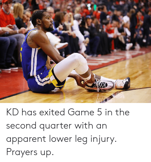 Game, Quarter, and Exited: KD has exited Game 5 in the second quarter with an apparent lower leg injury. Prayers up.
