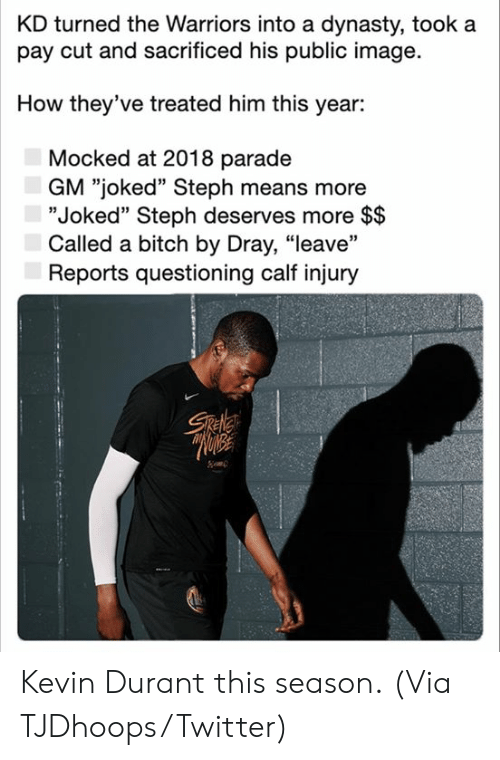 "Questioning: KD turned the Warriors into a dynasty, took a  pay cut and sacrificed his public image  How they've treated him this year:  Mocked at 2018 parade  GM ""joked"" Steph means more  ""Joked"" Steph deserves more $$  Called a bitch by Dray, ""leave""  Reports questioning calf injury  Sele Kevin Durant this season.  (Via TJDhoops/Twitter)"