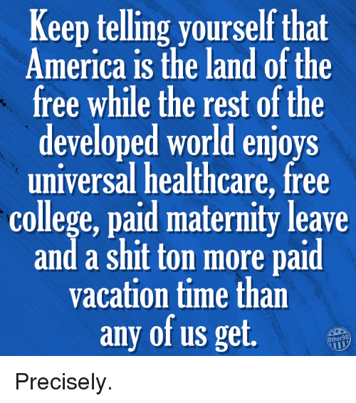 Shit Ton: Keep telling yourself that  America is the land of the  free while the rest of the  developed world enjoys  universal healthcare, free  college, paid maternity leave  and a shit ton more paid  vacation time than  any of us get. Precisely.