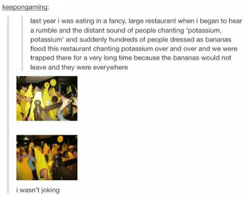 fanciness: keepongaming:  last year i was eating in a fancy, large restaurant when i began to hear  a rumble and the distant sound of people chanting 'potassium,  potassium' and suddenly hundreds of people dressed as bananas  flood this restaurant chanting potassium over and over and we were  trapped there for a very long time because the bananas would not  leave and they were everywhere  i wasn't joking