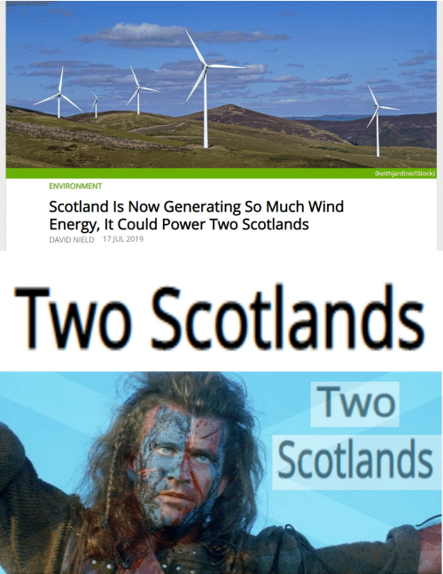 Energy, Istock, and Power: (keithjardine/iStock)  ENVIRONMENT  Scotland Is Now Generating So Much Wind  Energy, It Could Power Two Scotlands  DAVID NIELD 17 JUL 2019  Two Scotlands  Two  Scotlands
