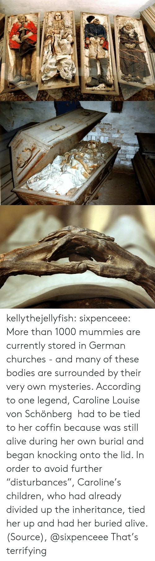 """Alive, Bodies , and Children: kellythejellyfish: sixpenceee:  More than 1000 mummies are currently stored in German churches - and many of these bodies are surrounded by their very own mysteries. According to one legend, Caroline Louise von Schönberg had to be tied to her coffin because was still alive during her own burial and began knocking onto the lid. In order to avoid further """"disturbances"""", Caroline's children, who had already divided up the inheritance, tied her up and had her buried alive. (Source), @sixpenceee  That's terrifying"""