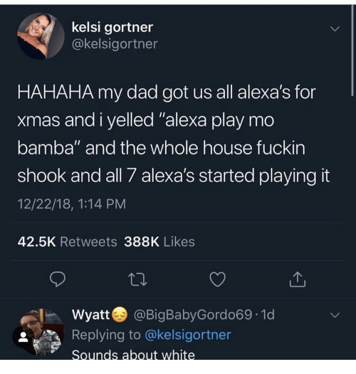 """Dad, House, and White: kelsi gortner  @kelsigortner  HAHAHA my dad got us all alexa's for  xmas and i yelled """"alexa play mo  bamba"""" and the whole house fuckin  shook and all 7 alexa's started playing it  12/22/18, 1:14 PM  42.5K Retweets 388K Likes  Wyatt  @BigBabyGordo69 1d  LL  Replying to @kelsigortner  Sounds about white"""